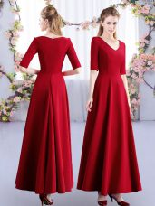 Clearance Wine Red Half Sleeves Ruching Ankle Length Quinceanera Dama Dress