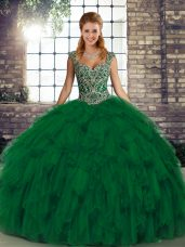 Green Sleeveless Organza Lace Up Quince Ball Gowns for Military Ball and Sweet 16 and Quinceanera