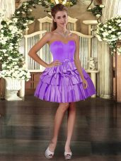 Perfect Purple Sleeveless Taffeta Lace Up Homecoming Dress Online for Prom and Party