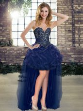 Admirable Sleeveless Beading and Ruffles Lace Up Red Carpet Gowns