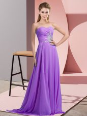 Lavender Sweetheart Beading and Ruching Prom Gown Sleeveless