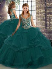 Sweet Peacock Green Sleeveless Floor Length Beading and Ruffles Lace Up 15th Birthday Dress