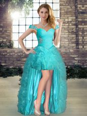 Sleeveless Beading and Ruffles Lace Up Prom Party Dress