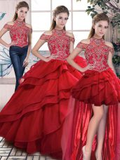 Red Quinceanera Gown Halter Top Sleeveless Lace Up