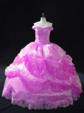Superior Off The Shoulder Sleeveless Lace Up Quinceanera Gown Lilac Organza