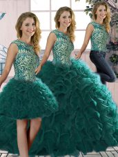 Peacock Green Sleeveless Organza Lace Up Quinceanera Dress for Military Ball and Sweet 16 and Quinceanera