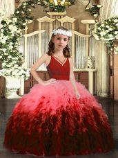 Multi-color Zipper V-neck Beading and Ruffles Little Girls Pageant Dress Tulle Sleeveless