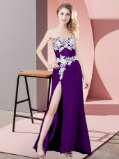 Enchanting Sleeveless Floor Length Lace and Appliques Zipper Homecoming Dress with Purple
