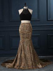 High-neck Sleeveless Printed Prom Dresses Beading Court Train Zipper