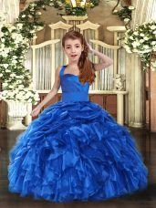 Custom Made Sleeveless Lace Up Floor Length Ruffles Pageant Dress for Teens