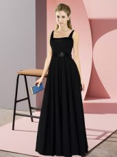 Dramatic Square Sleeveless Zipper Bridesmaid Dress Black Chiffon