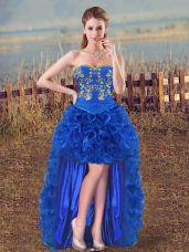 Royal Blue Sleeveless Organza Lace Up Cocktail Dress for Prom and Party