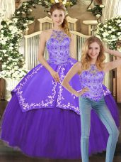 Purple Sleeveless Beading and Embroidery Floor Length Sweet 16 Dress