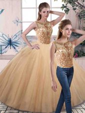 Flirting Gold Sleeveless Tulle Lace Up Quinceanera Gown for Military Ball and Sweet 16 and Quinceanera