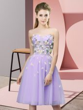 Elegant Tulle Sleeveless Knee Length Bridesmaid Gown and Appliques