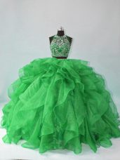 Green Two Pieces Beading and Ruffles Sweet 16 Dresses Backless Organza Sleeveless Floor Length