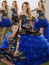 Modest Blue And Black Sleeveless Floor Length Embroidery and Ruffled Layers Lace Up Quinceanera Gowns