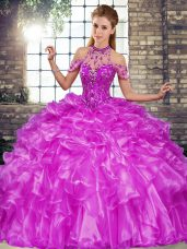 Inexpensive Purple Halter Top Lace Up Beading and Ruffles Sweet 16 Quinceanera Dress Sleeveless