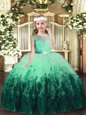 Customized Multi-color Ball Gowns Scoop Sleeveless Tulle Floor Length Backless Lace and Ruffles Kids Formal Wear