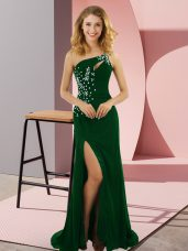 Lovely Dark Green Sleeveless Sweep Train Beading Prom Evening Gown
