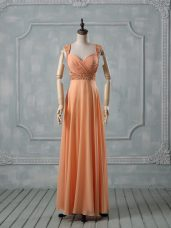 Orange Criss Cross Evening Outfits Beading and Ruching Sleeveless Floor Length
