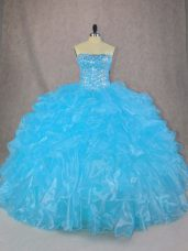 Excellent Floor Length Blue Quinceanera Dress Organza Sleeveless Beading and Ruffles
