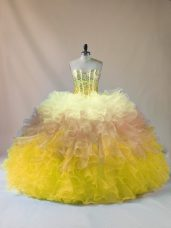 Noble Multi-color Lace Up 15th Birthday Dress Beading and Ruffles Sleeveless Floor Length