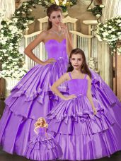 Cheap Lilac Sleeveless Taffeta Lace Up Quinceanera Gowns for Sweet 16 and Quinceanera