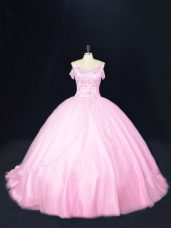 Fitting Baby Pink 15 Quinceanera Dress Tulle Court Train Sleeveless Beading