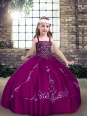 Luxurious Fuchsia Straps Lace Up Beading Pageant Dress for Teens Sleeveless