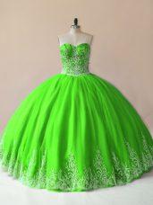 Great Floor Length 15th Birthday Dress Tulle Sleeveless Embroidery