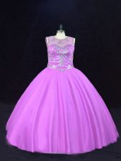 Nice Lilac Sleeveless Tulle Lace Up 15th Birthday Dress for Sweet 16 and Quinceanera