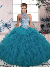 Chic Tulle Halter Top Sleeveless Lace Up Beading and Ruffles Sweet 16 Quinceanera Dress in Teal