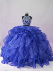 Two Pieces Sweet 16 Dresses Royal Blue Scoop Organza Sleeveless Floor Length Backless