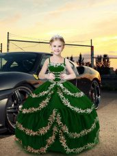 Graceful Dark Green Lace Up Little Girls Pageant Gowns Embroidery Sleeveless Floor Length