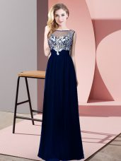 Royal Blue Backless Scoop Beading Prom Gown Chiffon Sleeveless