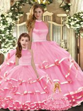 Pink Ball Gowns Beading and Ruffled Layers 15 Quinceanera Dress Lace Up Organza Sleeveless Floor Length