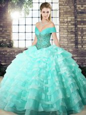 Popular Apple Green Organza Lace Up Off The Shoulder Sleeveless 15 Quinceanera Dress Brush Train Beading and Ruffled Layers