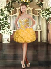 Mini Length Lace Up Dress for Prom Gold for Prom and Party with Beading and Ruffles