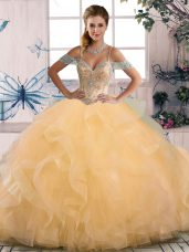 Colorful Floor Length Gold Sweet 16 Quinceanera Dress Off The Shoulder Sleeveless Lace Up
