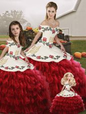 Wine Red Off The Shoulder Neckline Embroidery and Ruffled Layers Quinceanera Gowns Sleeveless Lace Up