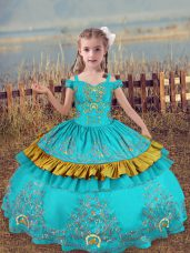 Most Popular Aqua Blue Little Girls Pageant Dress Wedding Party with Beading and Embroidery Off The Shoulder Sleeveless Lace Up