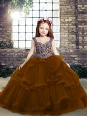 Ball Gowns Sleeveless Brown Little Girls Pageant Gowns Lace Up