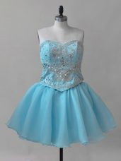 Attractive Baby Blue Lace Up Sweetheart Beading Dress for Prom Organza Sleeveless