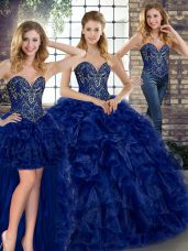 Floor Length Royal Blue Vestidos de Quinceanera Organza Sleeveless Beading and Ruffles