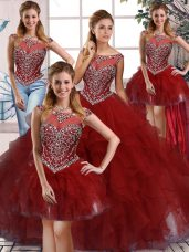 Organza Sleeveless Floor Length Sweet 16 Dresses and Beading and Ruffles