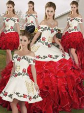 Affordable White And Red Sleeveless Organza Lace Up Sweet 16 Dress for Military Ball and Sweet 16 and Quinceanera
