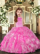 Floor Length Rose Pink Kids Pageant Dress Organza Sleeveless Beading and Ruffles