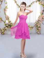 Colorful Fuchsia Empire Chiffon Sweetheart Sleeveless Ruffles and Ruching Knee Length Lace Up Bridesmaid Gown