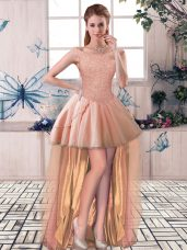 Peach Tulle Lace Up Off The Shoulder Sleeveless High Low Celebrity Dress Beading